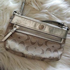 Coach large champagne evening wristlet clutch